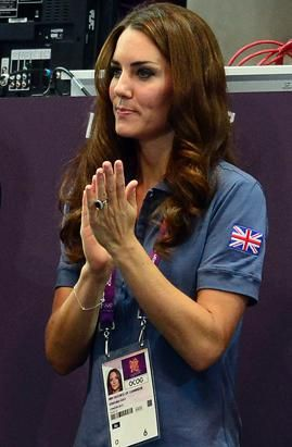Britain's Catherine, Duchess of Cambridge, applauds Britain's handball team at the end of the women's preliminary Group A handball match, Croatia vs, Great Britain, for the London 2012 Olympics Games on Aug. 5, 2012 at the Copper Box hall in London. Croatia won 37-14. (Javier Soriano/AFP/Getty Images)