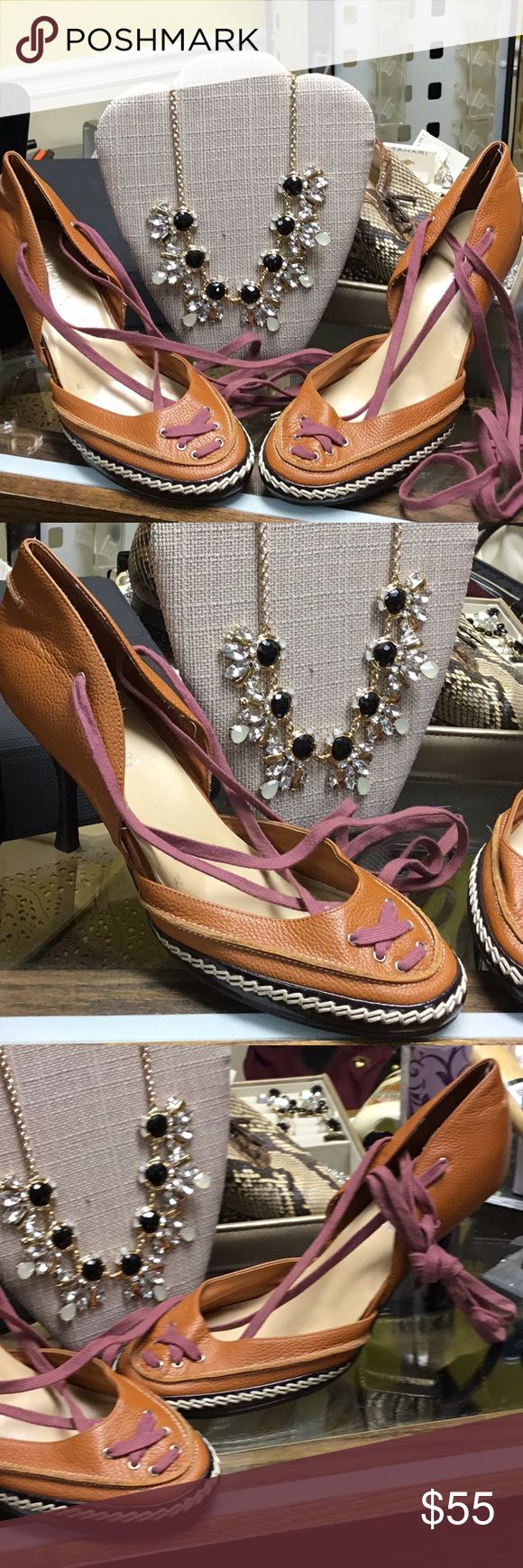 Nice Colin Stuart leather string ups Like new Leather string ups ! In great condition. Colin Stuart Shoes Espadrilles
