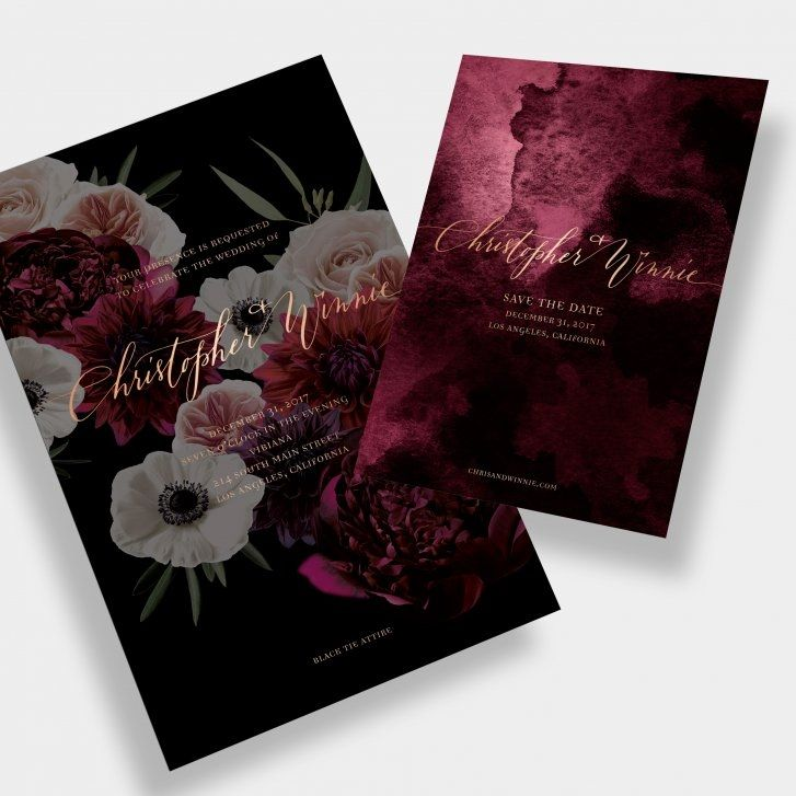 Moody Floral + Watercolor Wedding Invitation / Anne Robin Calligraphy / Bordeaux / Wine / Black / Gold Foil Stamp / Customizable / Design Your Own / #myownblissandbone