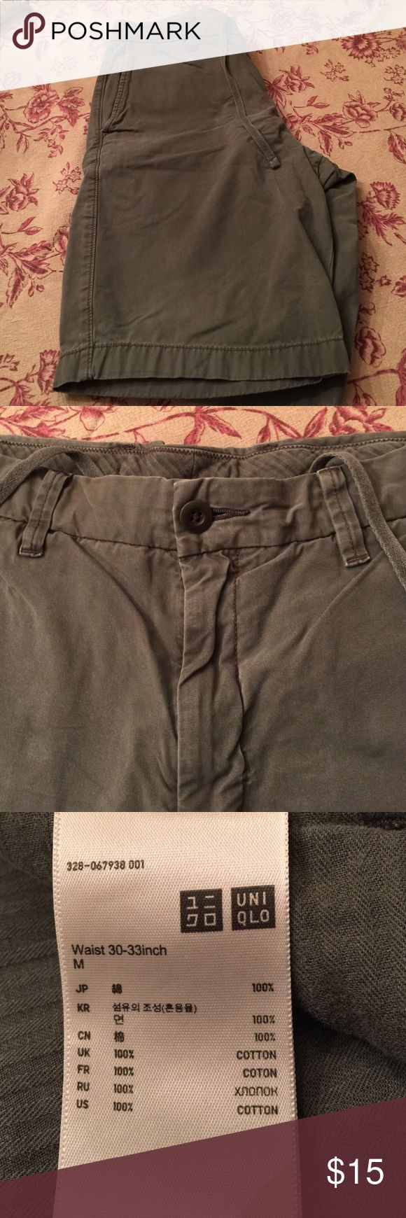 "Men's Uniqlo Shorts Olive green, size 31""-33"" gently used Uniqlo Shorts"