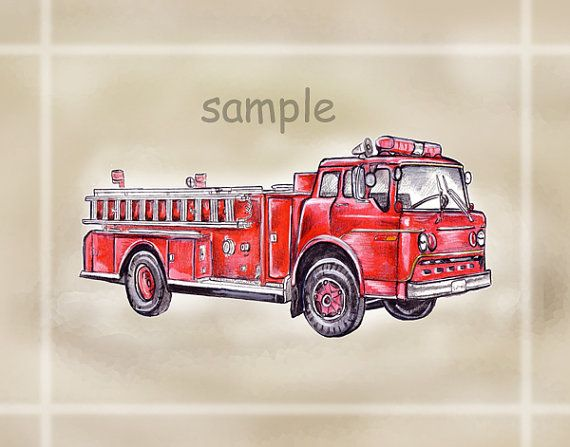 Rustic Nursery Vintage Red Fire Engine Truck By LiveLikeaNutter, $14.99