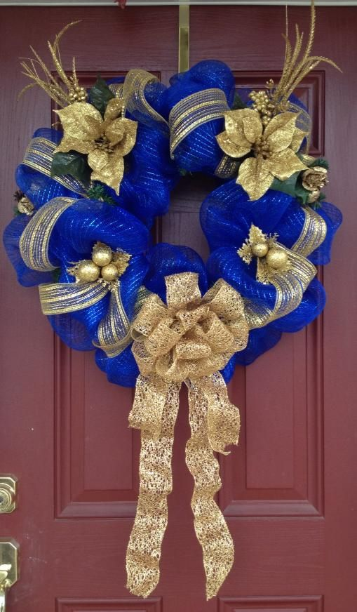 Royal blue and gold door wreath - A perfect wreath for a #SNHUdent. #SNHUBlue