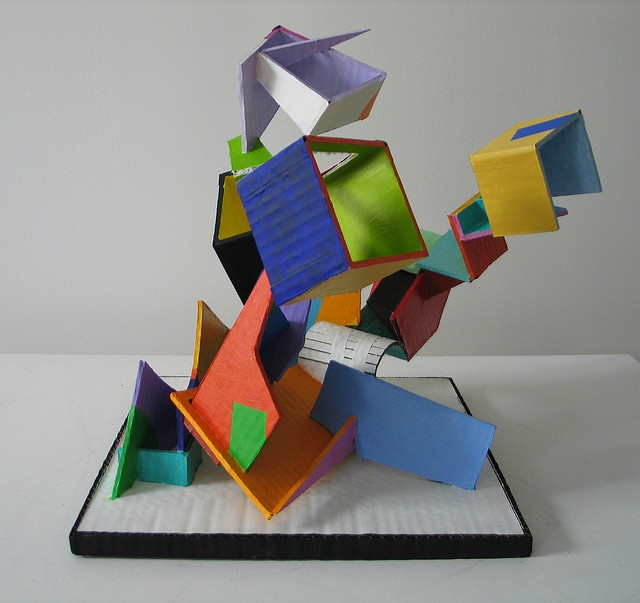 painted cardboard sculpture - could easily be an awesome ceramic slab sculpture!!