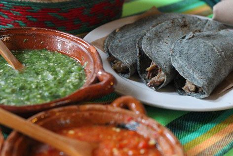 Miracle of Maguey. Barbacoa tacos and sauce, from a Mexico City restaurant: One of many forms that the maguey plant takes.