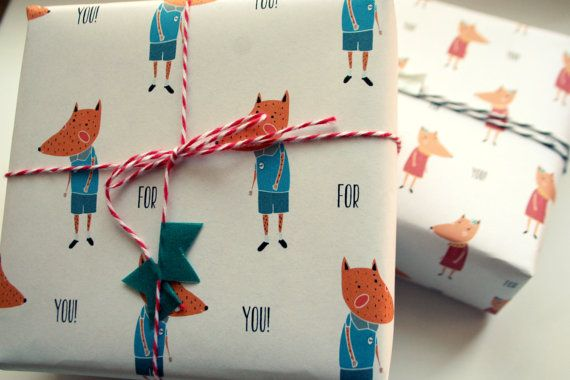Mister and Misses fox Gift Wrap. by MYMUSECOMESANDGOES on Etsy, €5.00