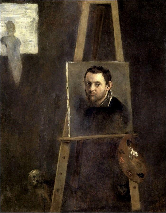 Annibale Carracci, Autoritratto nello studio (1604) - Firenze, Uffizi
