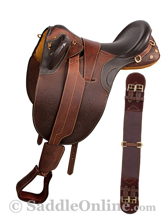 Up for sale is a beautiful hand crafted brown Australian saddle. This saddle is specially designed to fit most horses with its new and innovated stuffed wool panels that form to the horses back. The saddle features a deep seat for added comfort. The saddle is made with soft supple drum dried leather and all brass hardware. The saddle has amazing embossing which goes around the border of the double sided flap and brings out the beauty of the leather.