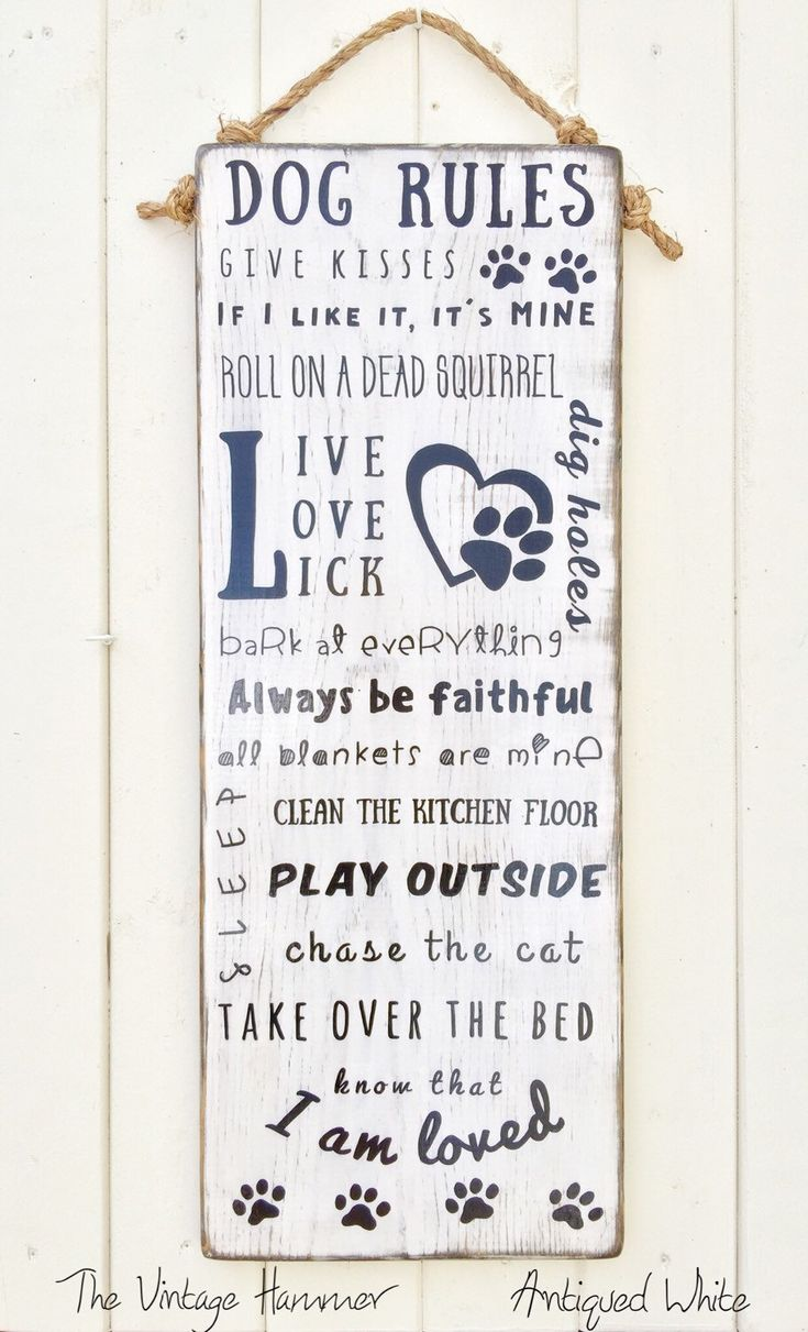 A personal favorite from my Etsy shop https://www.etsy.com/listing/261638103/dog-rules-wood-sign-sayings-wood-dog