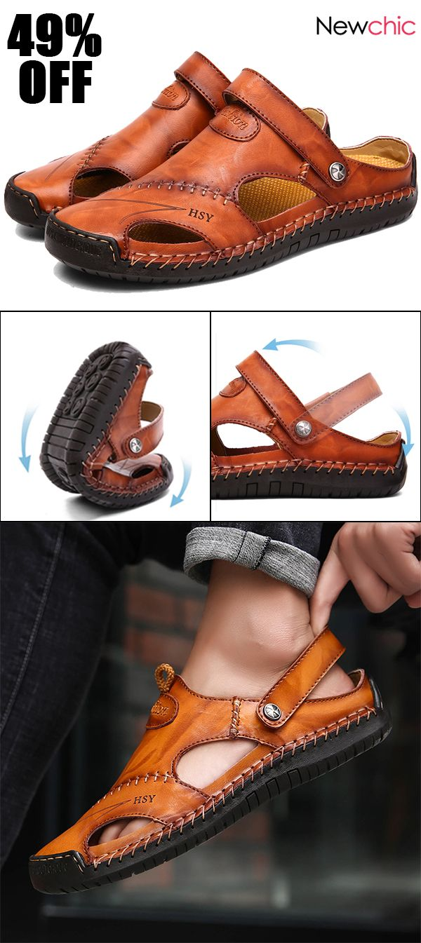 82311e29a7db  49%off Menico Men Hand Stitching Soft Outdoor Closed Toe Leather Sandals   mensshoes  sandals  style