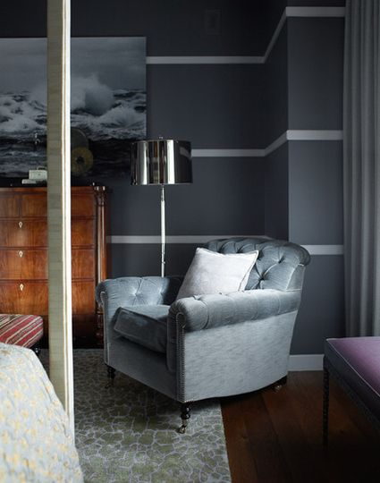 Moody Gray Bedroom with Chair