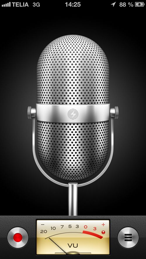 Not only does iOS itself use this design, but others who create apps and tools for the iPhone have followed suit. For example apps like Voddio, Voice Recorder, etc. have used  the picture of a microphone and the audiometer for voice memos.