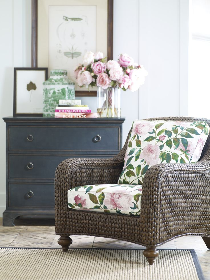 Floral Print Covers On Rattan Chair Cottage Chic In 2019