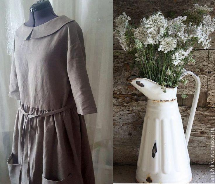 Купить Запах трав remix - коричневый, серо-коричневый, льняное платье, большие карманы, бохо