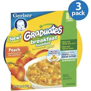 Gerber Graduates Breakfast Buddies Peach Cereal with Fruit, 4.5 oz (Pack of 3)