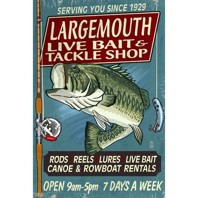 Large Mouth Bass Tackle Vintage Sign - LP Artwork (Acrylic Wall Clock), Black (Plastic)