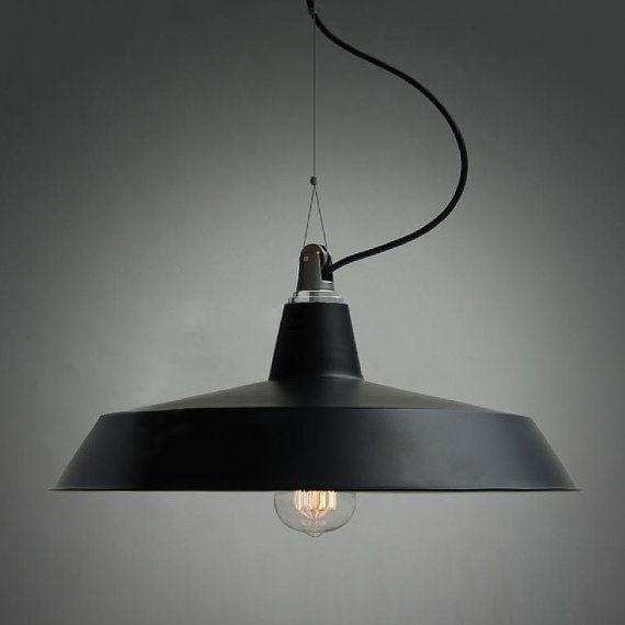Black pulley industrial pendant light by GlassandbrassCo