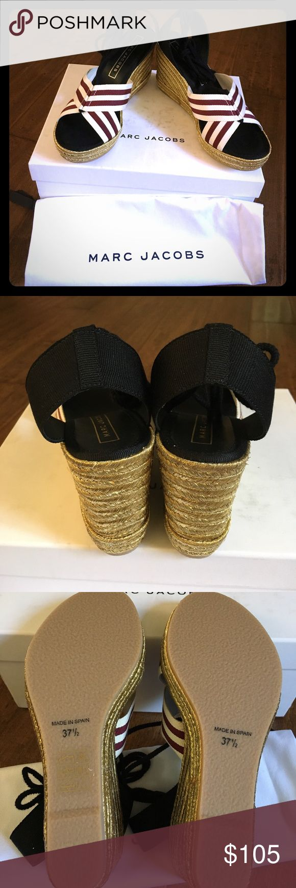MARC JACOBS DANI GOLD ESPADRILLE WEDGE SANDALS Auth & Brand New! Great for summer. Marc Jacobs Shoes Espadrilles