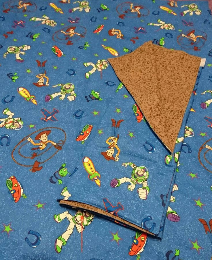 Woody and Buzz Lightyear weighted quilts  Special fabric to delight any young child, with plastic poly-pellet filling.  Great for sensory processing disorders