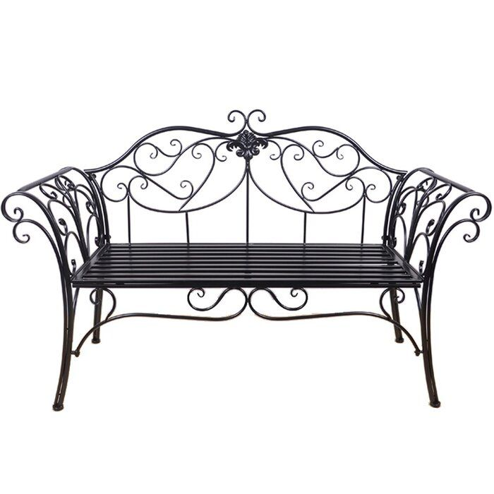 Wrought Iron Bench No Back