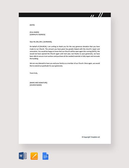 11 Sample Thank You Letter For Donation Doc Pdf