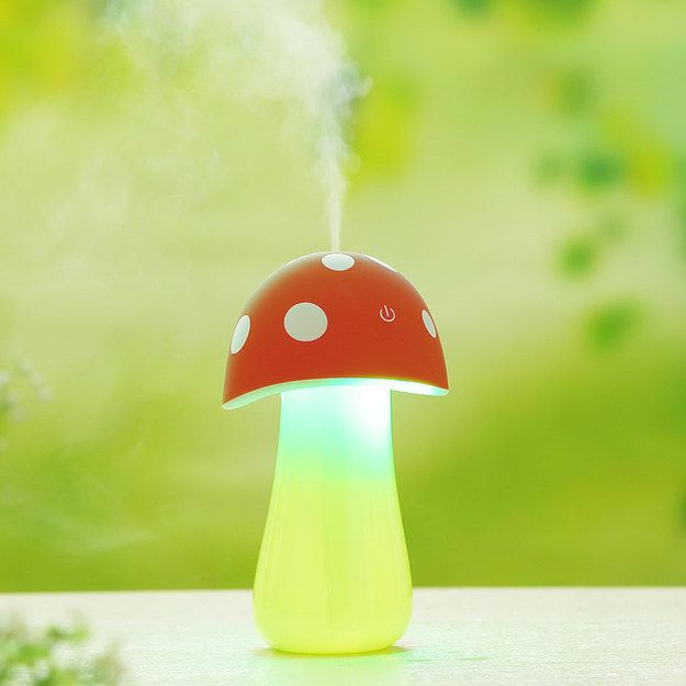 """A miniature """"magical"""" misting mushroom humidifier for your desk. 