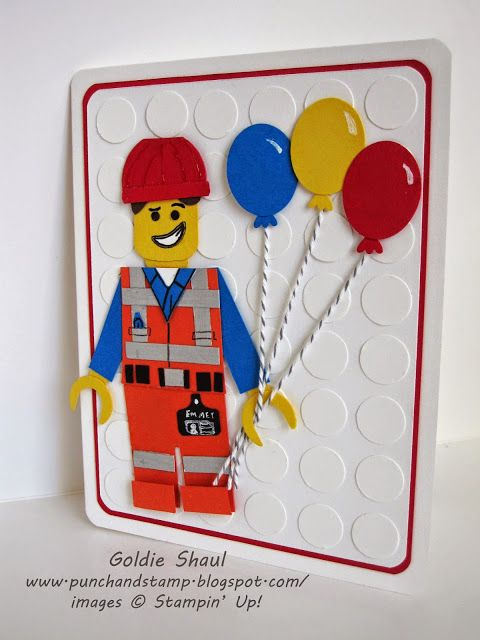 Emmet Lego card for rafi's 5th birthday. Stampin' Up! Punch art handmade card. Punch and stamp with Goldie.