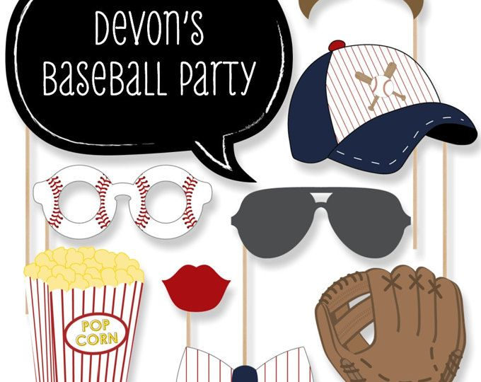 Béisbol Photo Booth Props - béisbol Photobooth Kit con Custom hablan burbujas para masa 20 para arriba - Baby Shower o fiesta de cumpleaños - 20 piezas