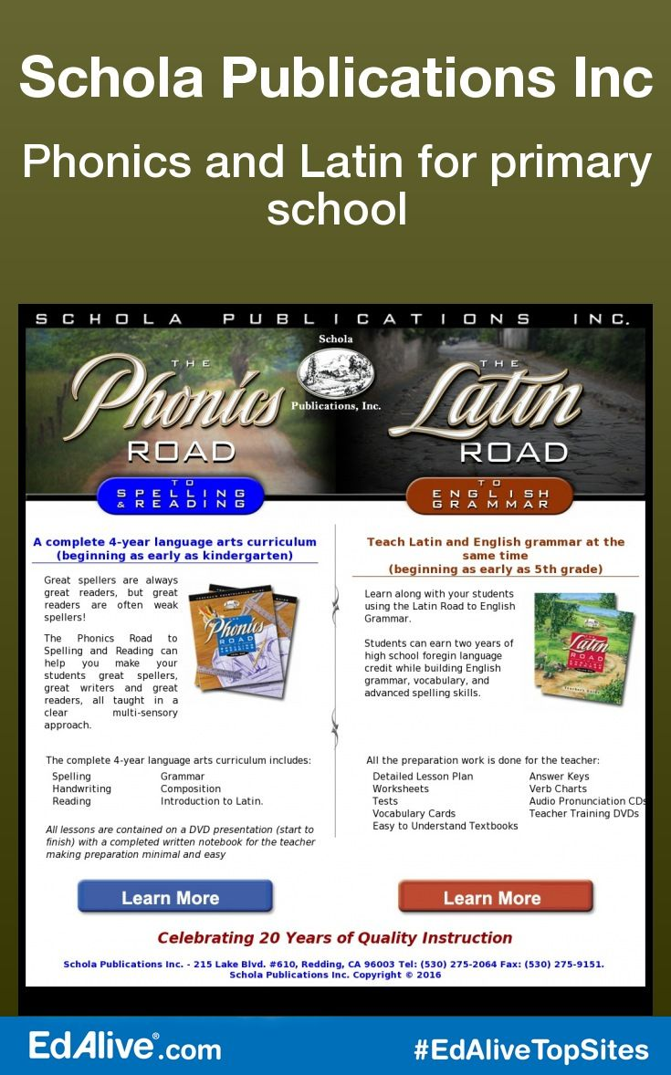 Phonics and Latin for primary school | Includes complete language arts curricula: 4 years of The PHONICS Road to Spelling and Reading (for kids as young as Kindergarten) & 4 years of The LATIN Road to English Grammar (for kids as early as 5th Grade). #Reading #EdAliveTopSites