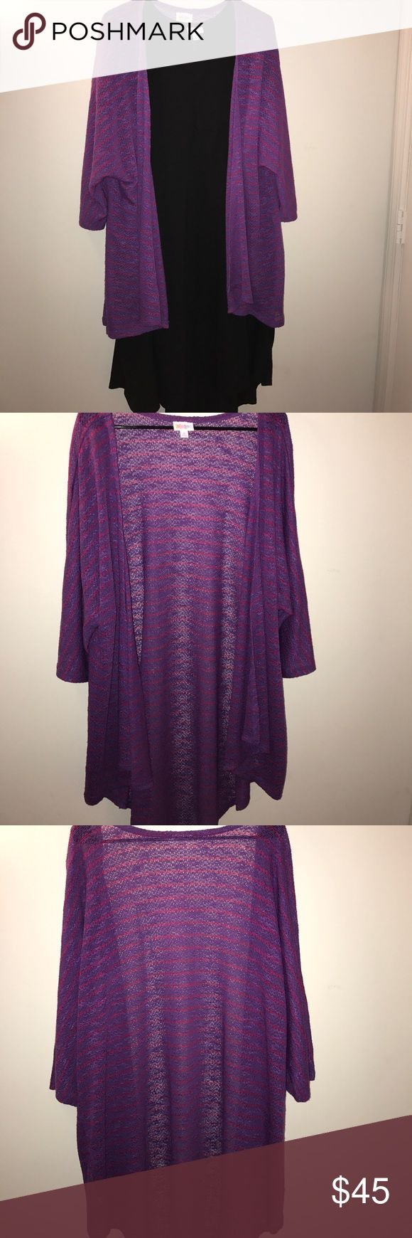 LuLaRoe Lindsay Kimono Purple with reddish pink stripes! This is perfect for any occasion! Dress it up for a night out or throw it on to run some errands. NWOT (Dress NOT included) LuLaRoe Other