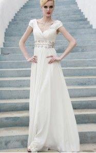 A-line Floor-length V-neck White Dress