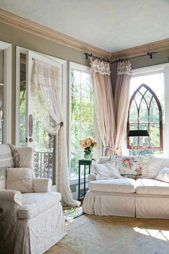 Couch And Curtains   Shabby Chic Living Sitting Room   Vintage Cathedral  Frame In The Window.