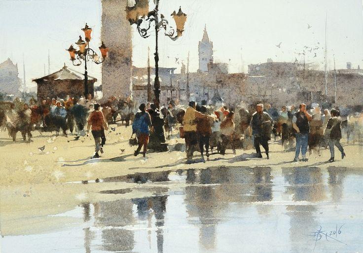 【威尼斯都是人 / The Crowd in Venice 】26 x37 cm  watercolor Demo by Chien Chung Wei