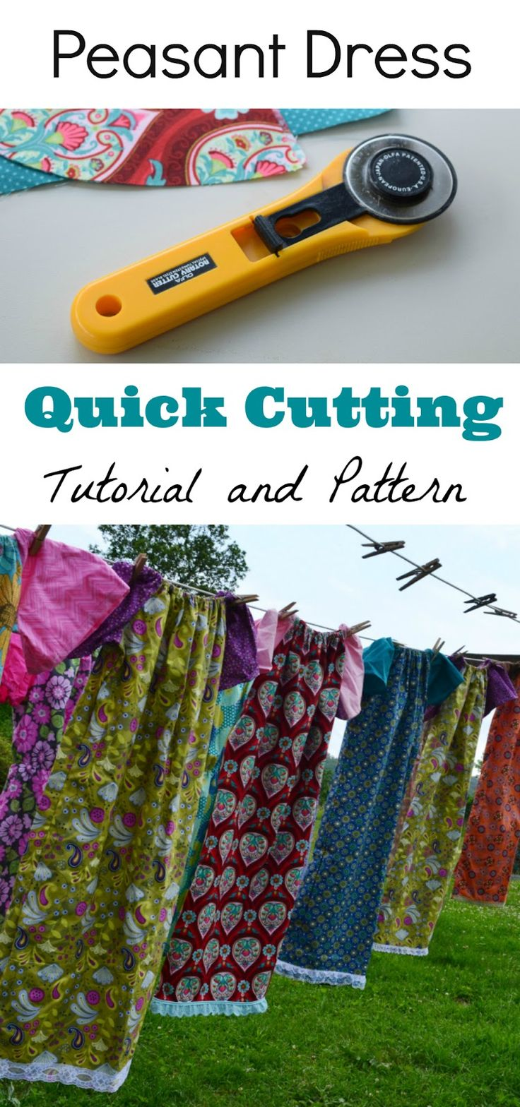 Peasant Dress Quick Cutting Tutorial and Pattern. These are so fast and easy to make - even easier than a pillowcase dress! Perfect for charity sewing groups.