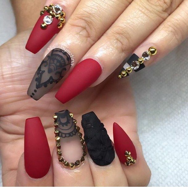 Beautiful and bright maroon nail art design with black. The maroon and black  combination never fail to impress and coupled with the gold embellishments  it ... - Best 25+ Red Black Nails Ideas On Pinterest Dot Nail Designs