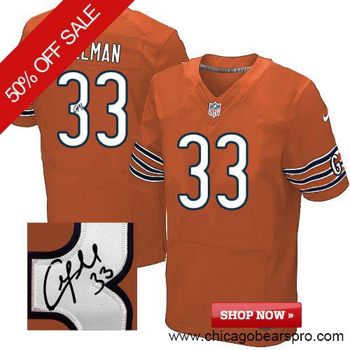 $129.99 Men's Nike Chicago Bears #33 Charles Tillman Elite Orange NFL Alternate Autographed Jersey
