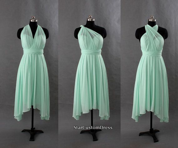 Mint Bridesmaid Dress Short Chiffon Dress One by StarCustomDress