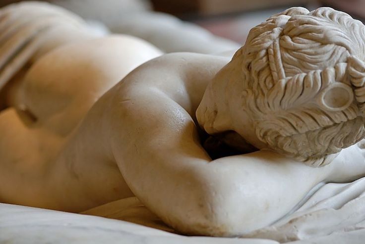 Sleeping Hermaphroditus. Hermaphroditus: Greek marble, Roman copy of the 2nd century CE after a Hellenistic original of the 2nd century BC, restored in 1619 by David Larique; mattress: Carrara marble, made by Gianlorenzo Bernini in 1619 on Cardinal Borghese's request.