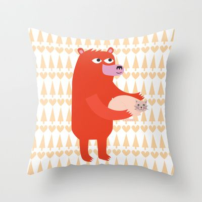 Bear and cat BFF Throw Pillow by catherineinsch - $20.00