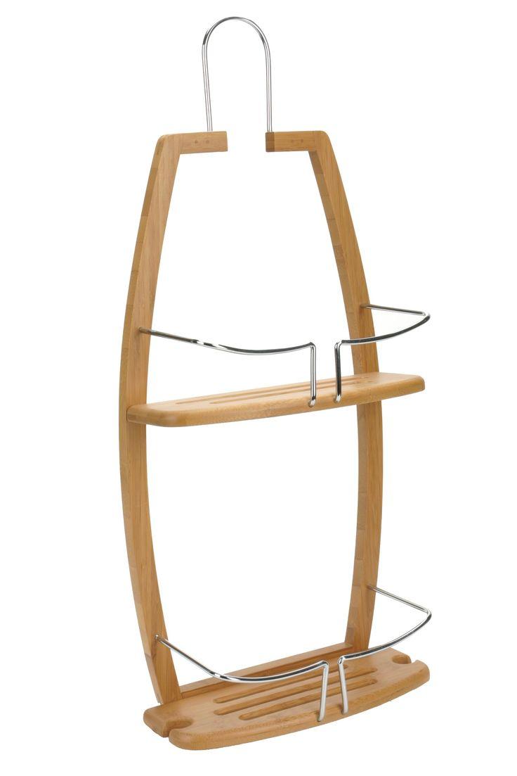 Mensole doccia a 2 ripiani in bambù e metallo cromato