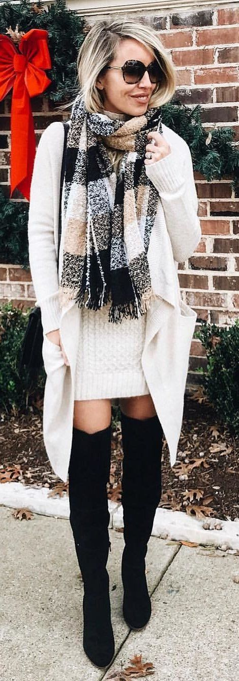 #winter #outfits white cardigan, white cable knitted mini dress, and pair of black knee boots