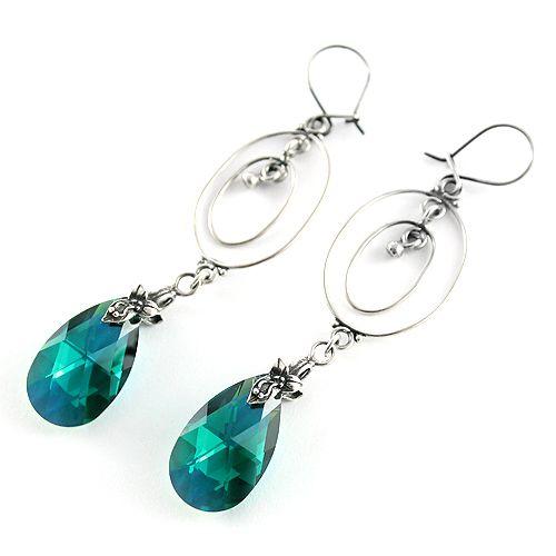 Silver and emerlad Swarovski Peardrops. Orient-inspired, long earrings.