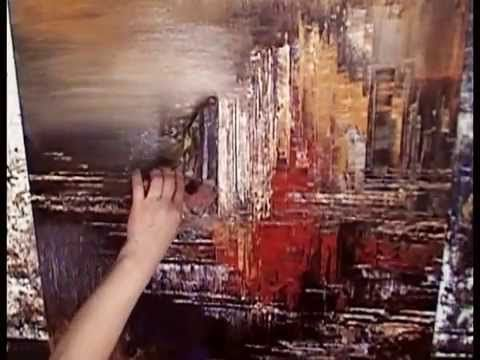 Speed painting demo of abstract city skyline with palette knife by Tatiana Iliina - YouTube