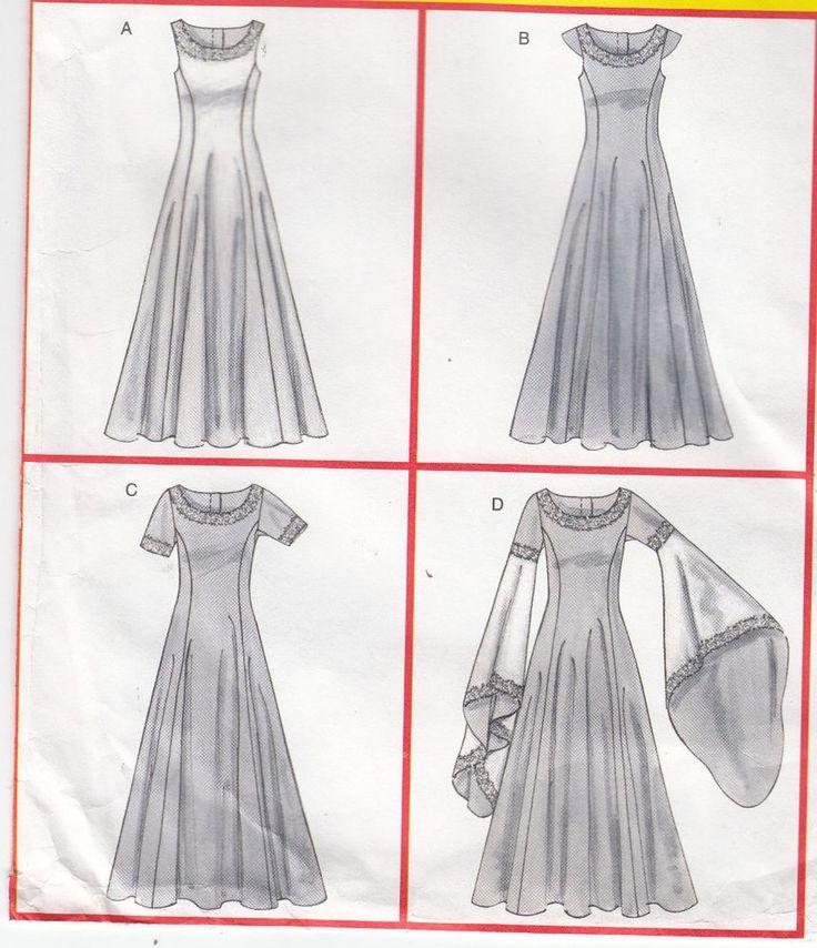 Renaissance Costume Basic Dress Variations McCalls Sew Pattern 4491 Sz 6-12 FF #McCalls4491 #costume