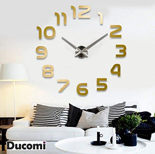 Ducomi® Orologio da Parete con numeri adesivi. Decorazione murali da ...