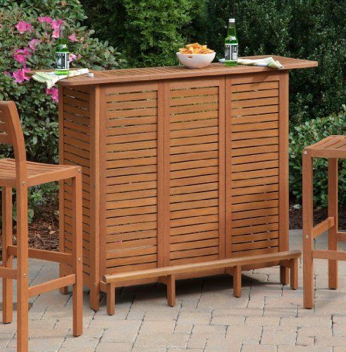 Home Styles 5661 99 Montego Bay U Shaped Outdoor Bar Cabinet, Eucalyptus  Finish