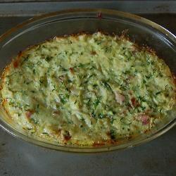 Auflauf mit Zucchini, Kartoffeln und Speck