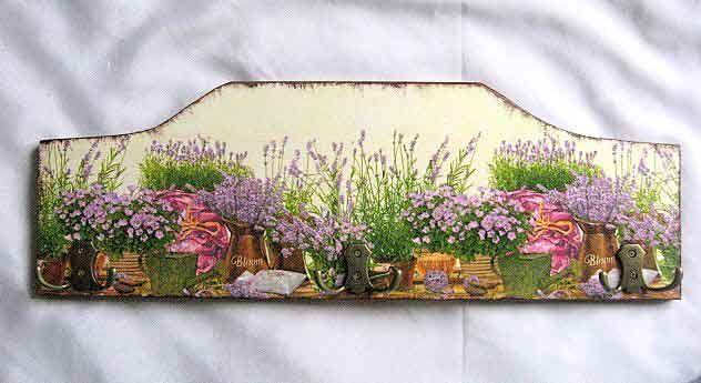 Cuier pentru mai multe haine, cuier lemn natur cu flori de lavanda