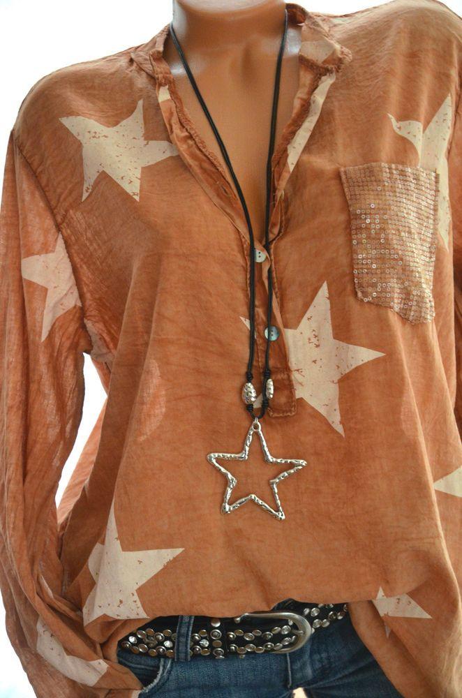 Italy Moda BIG STARS Tunika Oversize Hemd SHABBY Bluse STERNE 38 40 42 ROST Neu
