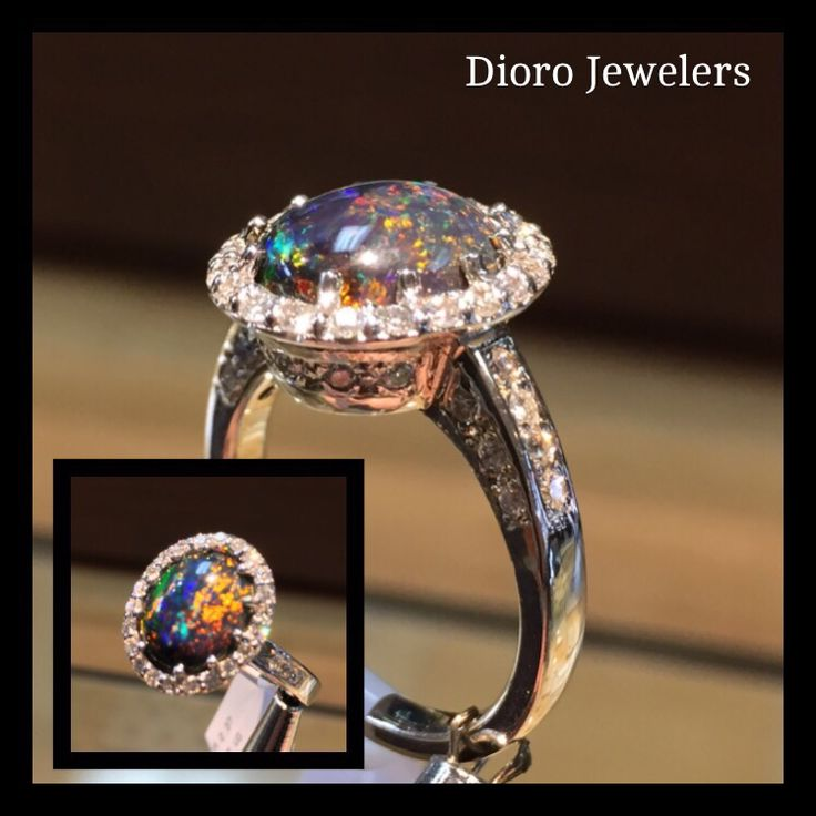 Black Opal with a Diamond Halo Ring