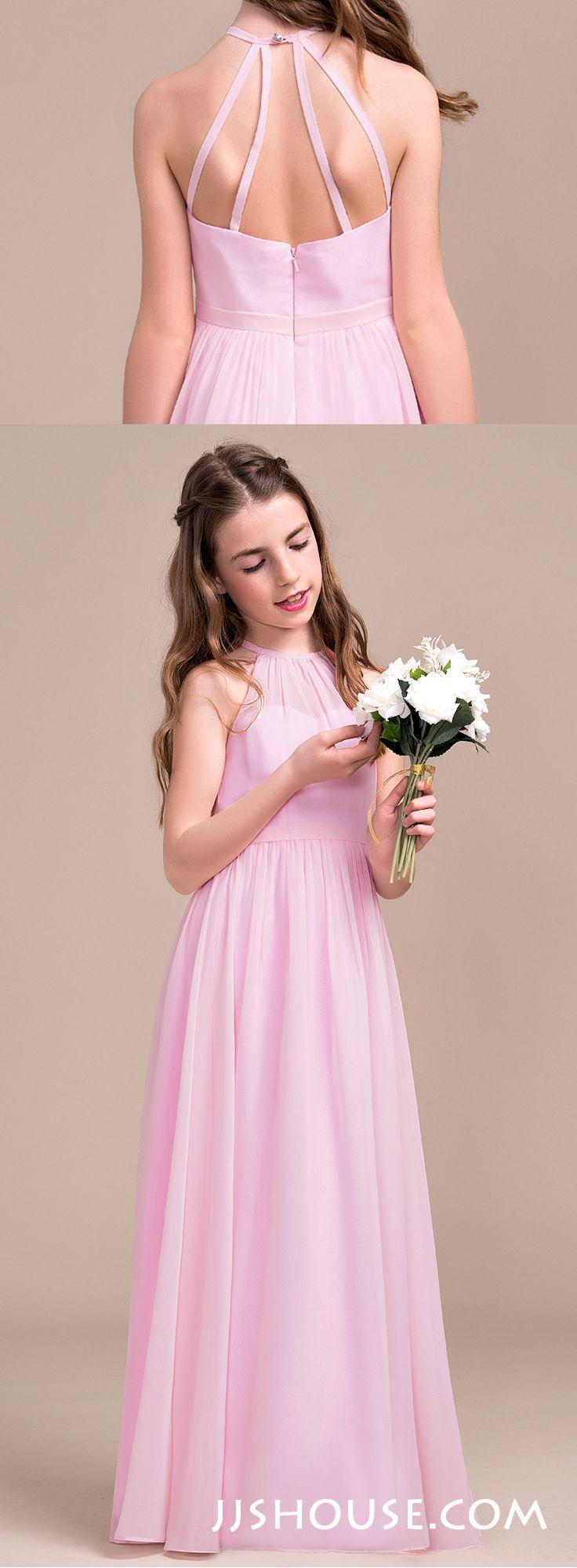 Junior bridesmaid hair accessories - A Line Princess Scoop Neck Floor Length Chiffon Junior Bridesmaid Dress With Ruffle 009081144